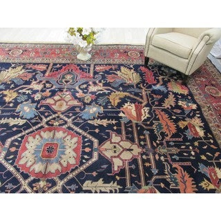 EORC Hand Knotted Wool Navy Heriz Rug (14'1 x 14'4)