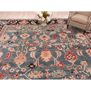Hand-knotted Wool Blue Traditional Geometric Bergama Rug (13'1 x 20'1)