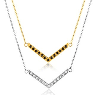 ELYA Cubic Zirconia High Polish Chevron Stainless Steel 18-Inch Cable Chain Necklace