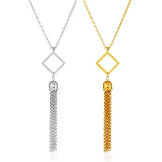 ELYA High Polish Open Diamond Tassel Stainless Steel 23-Inch Rolo Chain Necklace