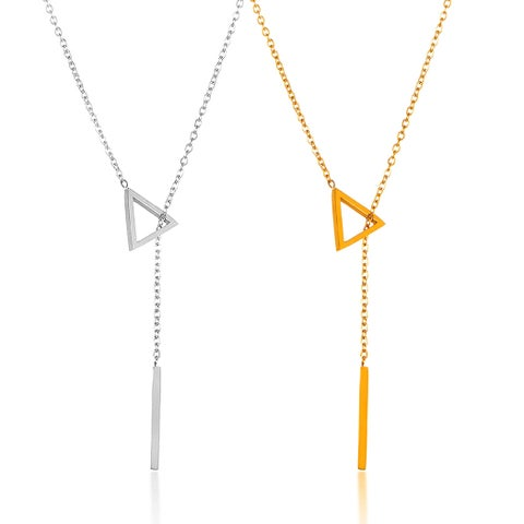 ELYA High Polish Stainless Steel 18-Inch Cable Chain Triangle Bar Drop Lariat Necklace
