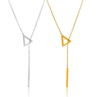 ELYA High Polish Stainless Steel 18-Inch Cable Chain Triangle Bar Drop Lariat Necklace|https://ak1.ostkcdn.com/images/products/12433319/P19249461.jpg?impolicy=medium
