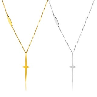 ELYA High Polish Star Cross Stainless Steel 17-Inch Cable Chain Necklace