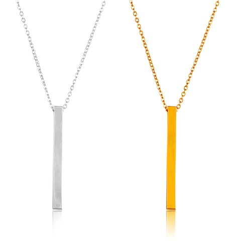 ELYA High Polish Rectangle Bar Stainless Steel 17-Inch Cable Chain Necklace