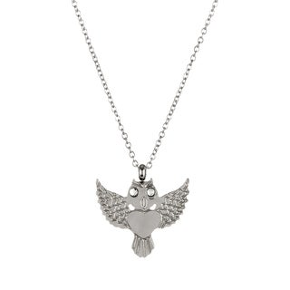 ELYA High Polish Crystal Eyed Owl Stainless Steel 18-Inch Cable Chain Necklace
