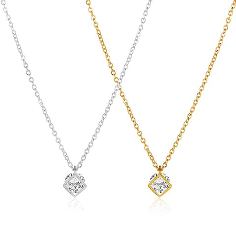 ELYA Cubic Zirconia Open Square Stainless Steel Necklace