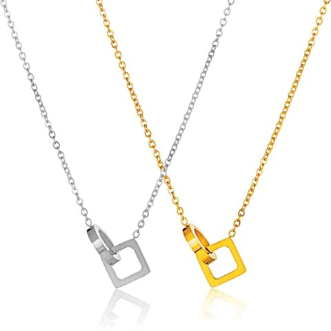 ELYA Polished Interlocked Circle and Square Stainless Steel Necklace