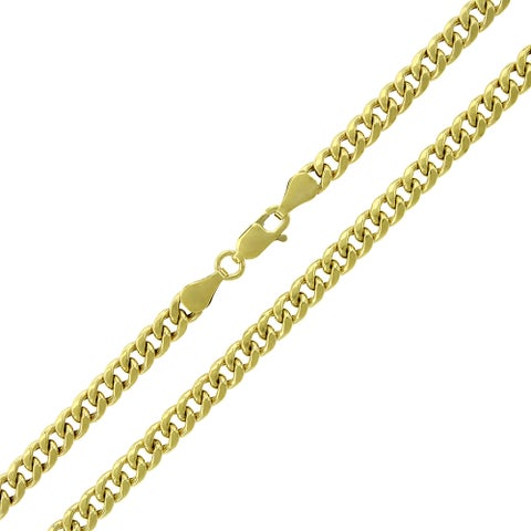 """10k Yellow Gold 4.5mm Hollow Miami Cuban Curb Link Thick Necklace Chain 22"""" - 36"""""""