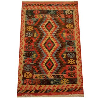 Herat Oriental Afghan Hand-woven Vegetable Dye Wool Kilim (2'7 x 4'2)