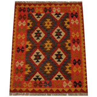 Herat Oriental Afghan Hand-woven Vegetable Dye Wool Kilim (2'8 x 3'5)
