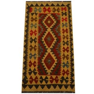 Herat Oriental Afghan Hand-woven Vegetable Dye Wool Kilim (2'3 x 4'2)