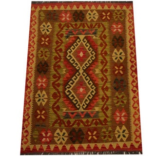 Herat Oriental Afghan Hand-woven Vegetable Dye Wool Kilim (2'10 x 4')
