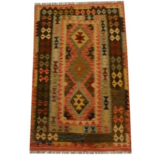 Herat Oriental Afghan Hand-woven Vegetable Dye Wool Kilim (3'3 x 5'2)