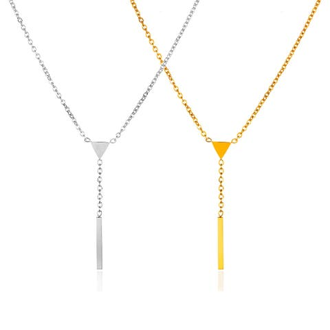 ELYA Polished Stainless Steel Triangle Bar Drop Necklace - 16 Inches