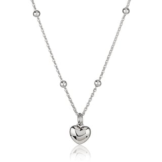 ELYA High Polish Heart Stainless Steel 18-Inch Beaded Cable Chain Necklace