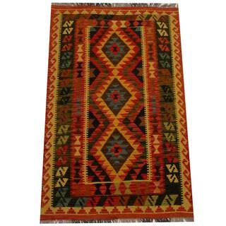 Herat Oriental Afghan Hand-woven Vegetable Dye Wool Kilim (3'3 x 5'1)