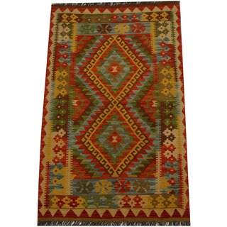 Herat Oriental Afghan Hand-woven Vegetable Dye Wool Kilim (3'2 x 5'1)