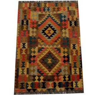 Herat Oriental Afghan Hand-woven Vegetable Dye Wool Kilim (3'5 x 4'11)