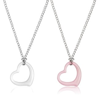 ELYA High Polish Ceramic Heart Stainless Steel 18-Inch Curb Chain Necklace