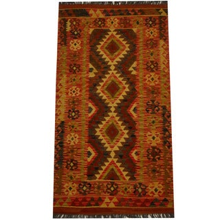 Herat Oriental Afghan Hand-woven Vegetable Dye Wool Kilim (2'8 x 4'11)