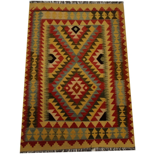 Herat Oriental Afghan Hand-woven Vegetable Dye Wool Kilim (3'6 x 5'5)
