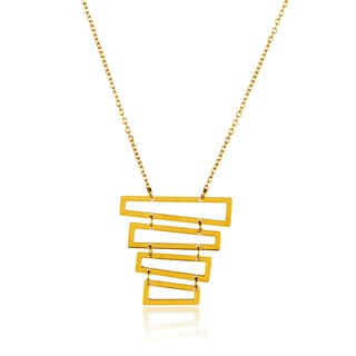 ELYA Gold Plated Tiered Trapezoids Stainless Steel 18-Inch Cable Chain Necklace