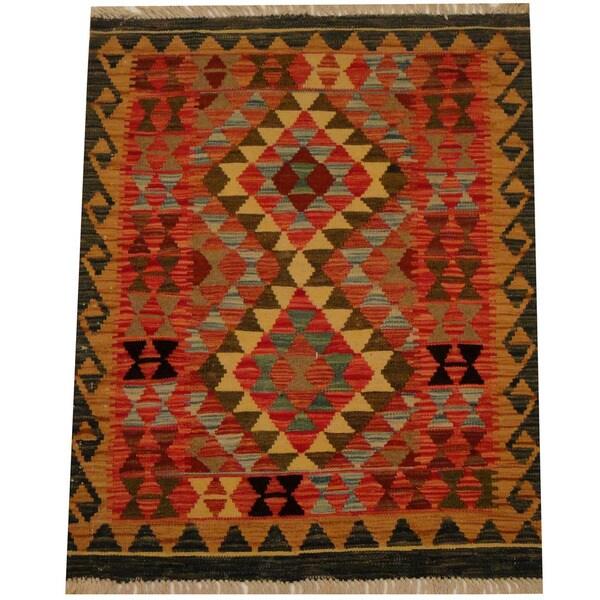 Handmade One-of-a-Kind Vegetable Dye Wool Kilim (Afghanistan) - 3' x 3'9