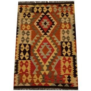 Herat Oriental Afghan Hand-woven Vegetable Dye Wool Kilim (2'10 x 4')