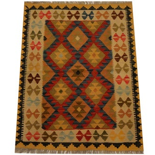 Herat Oriental Afghan Hand-woven Vegetable Dye Wool Kilim (2'4 x 4'2)