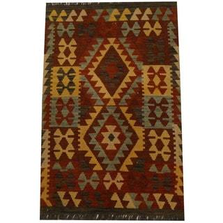 Herat Oriental Afghan Hand-woven Vegetable Dye Wool Kilim (2'7 x 4'1)