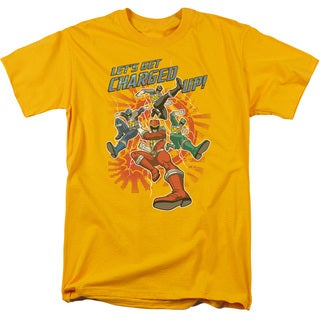Power Rangers/Charged Up Short Sleeve Adult T-Shirt 18/1 in Gold
