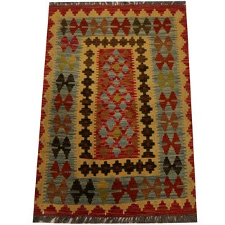 Herat Oriental Afghan Hand-woven Vegetable Dye Wool Kilim (2'7 x 3'10)