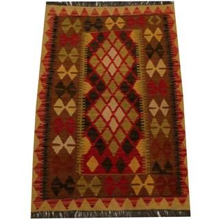 Herat Oriental Afghan Hand-woven Vegetable Dye Wool Kilim - 2'9 x 4'1