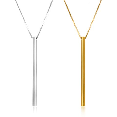 ELYA High Polish Cylinder Bar Stainless Steel 18-Inch Cable Chain Necklace