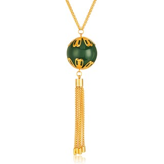 ELYA Gold Plated Faux Jade Tassel Stainless Steel 28-Inch Box Chain Necklace
