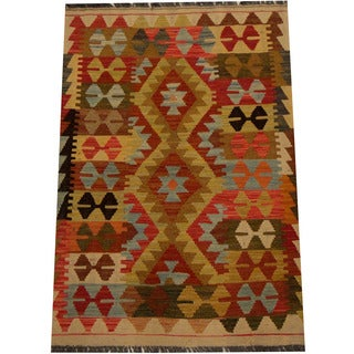 Herat Oriental Afghan Hand-woven Vegetable Dye Wool Kilim (2'9 x 4'1)