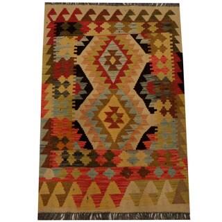 Handmade Herat Oriental Afghan Vegetable Dye Wool Kilim (Afghanistan) - 2'8 x 4'2