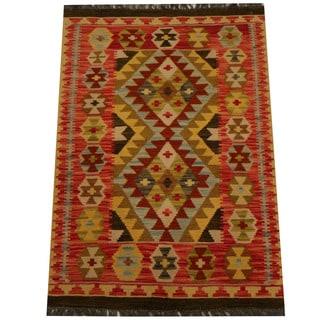 Herat Oriental Afghan Hand-woven Vegetable Dye Wool Kilim (2'11 x 4'2)