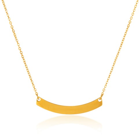 ELYA High Polish Curved Bar Stainless Steel 18-Inch Cable Chain Necklace - Gold