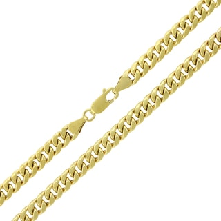 10K Yellow Gold 5.5mm Hollow Miami Cuban Curb Link Chain Necklace