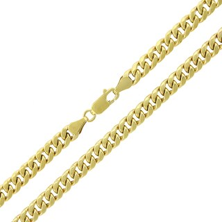 "10k Yellow Gold 5.5mm Hollow Miami Cuban Curb Link Thick Necklace Chain 22"" - 36"""