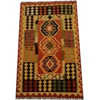 Herat Oriental Afghan Hand-woven Vegetable Dye Wool Kilim Rug (3'3 x 5'2) - 3'3 x 5'2