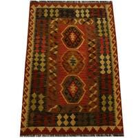 Herat Oriental Afghan Hand-woven Vegetable Dye Wool Kilim - 3'3 x 4'9