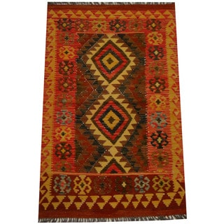 Herat Oriental Afghan Hand-woven Vegetable Dye Wool Kilim (3' x 4'10)