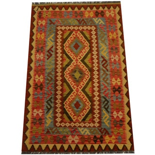 Herat Oriental Afghan Hand-woven Vegetable Dye Wool Kilim (3'4 x 5'2)