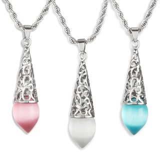 ELYA Cat's Eye Teardrop Stainless Steel Pendant on 24 Inch Rope Chain Necklace