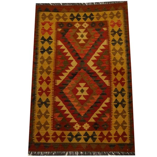 Herat Oriental Afghan Hand-woven Vegetable Dye Wool Kilim - 3'2 x 4'10