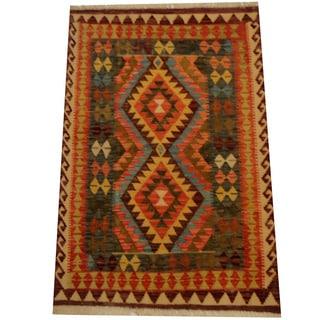 Herat Oriental Afghan Hand-woven Vegetable Dye Wool Kilim (3'2 x 4'9)