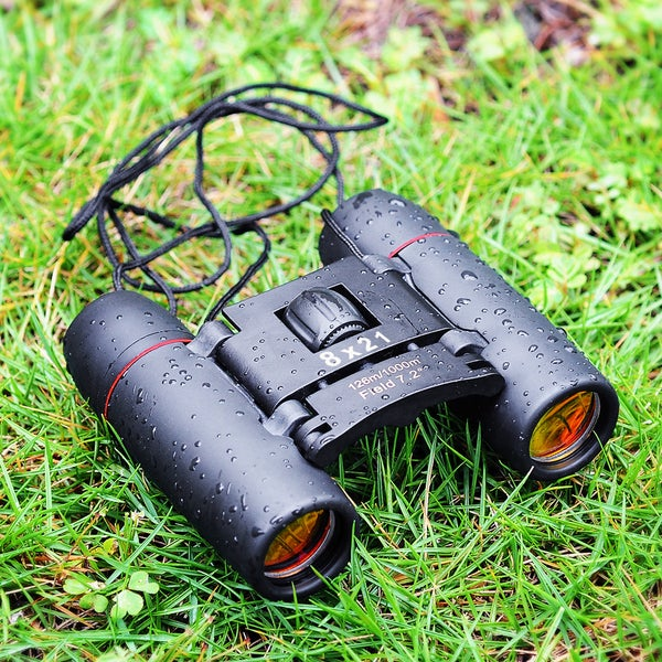 Optics Black 8x21 Telescope Binoculars With Cleaning Cloth and Carry Case
