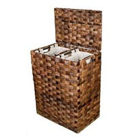 BirdRock Home Brown Rattan Divided Laundry Hamper